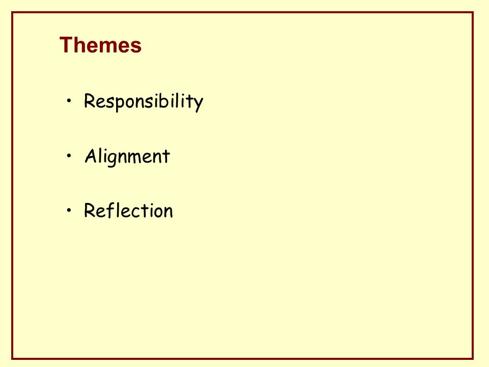 Themes Responsibility Alignment Reflection