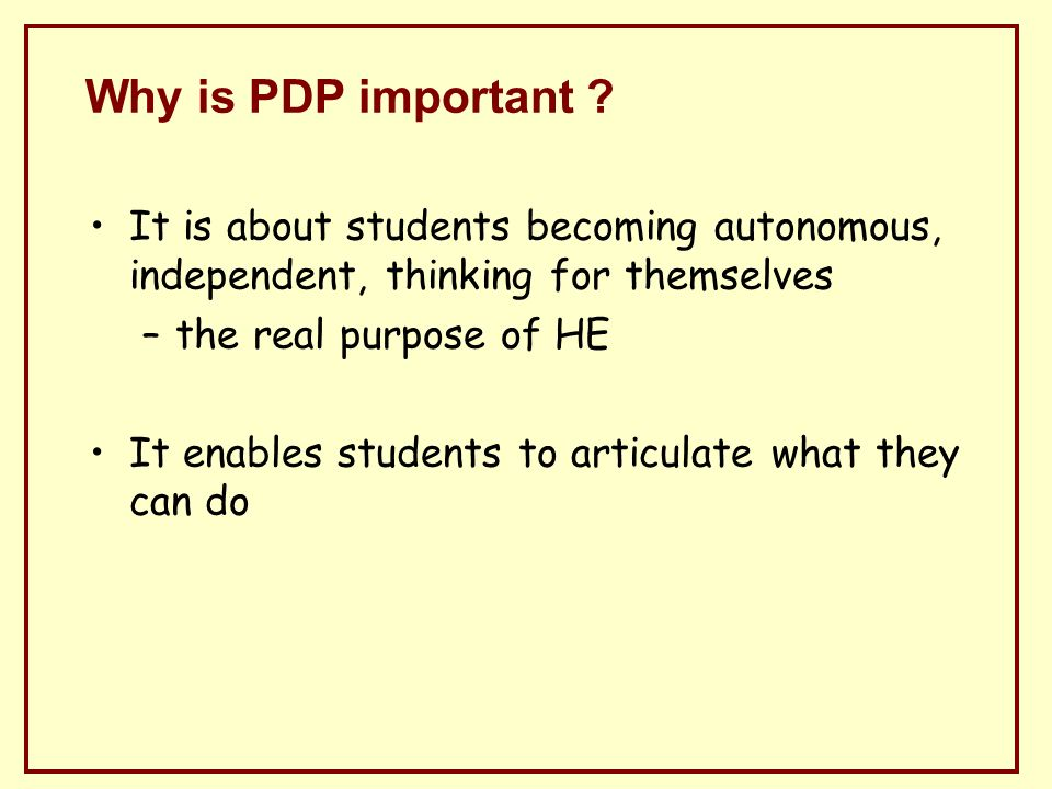 Why is PDP important .
