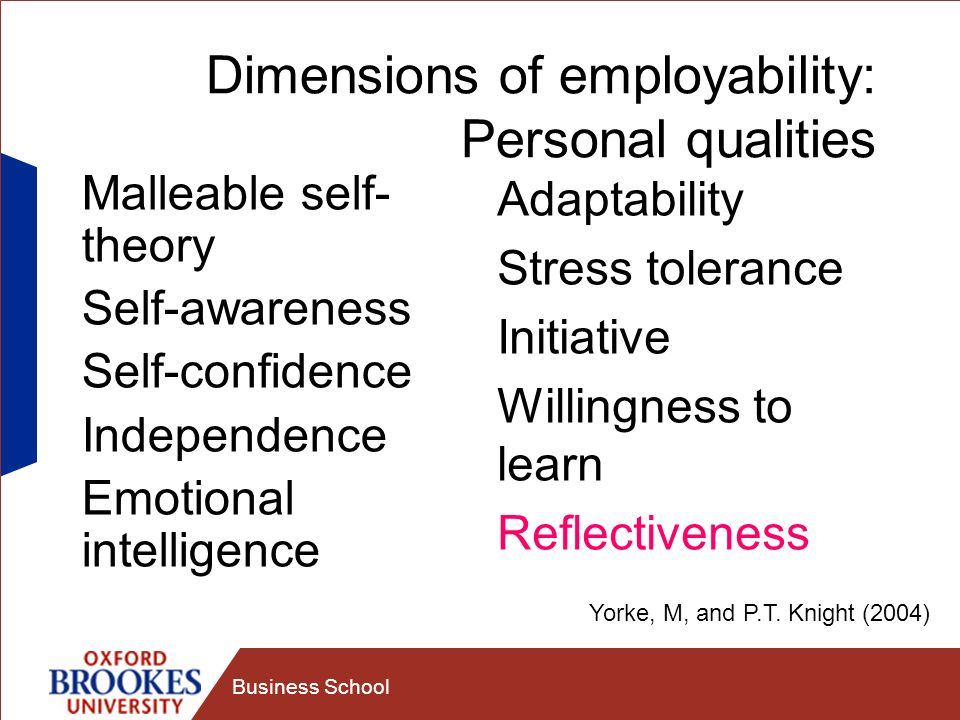 Business School Dimensions of employability: Personal qualities Malleable self- theory Self-awareness Self-confidence Independence Emotional intelligence Adaptability Stress tolerance Initiative Willingness to learn Reflectiveness Yorke, M, and P.T.