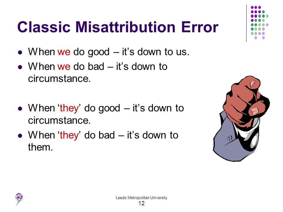 Leeds Metropolitan University 12 Classic Misattribution Error When we do good – its down to us. When we do bad – its down to circumstance. When they d