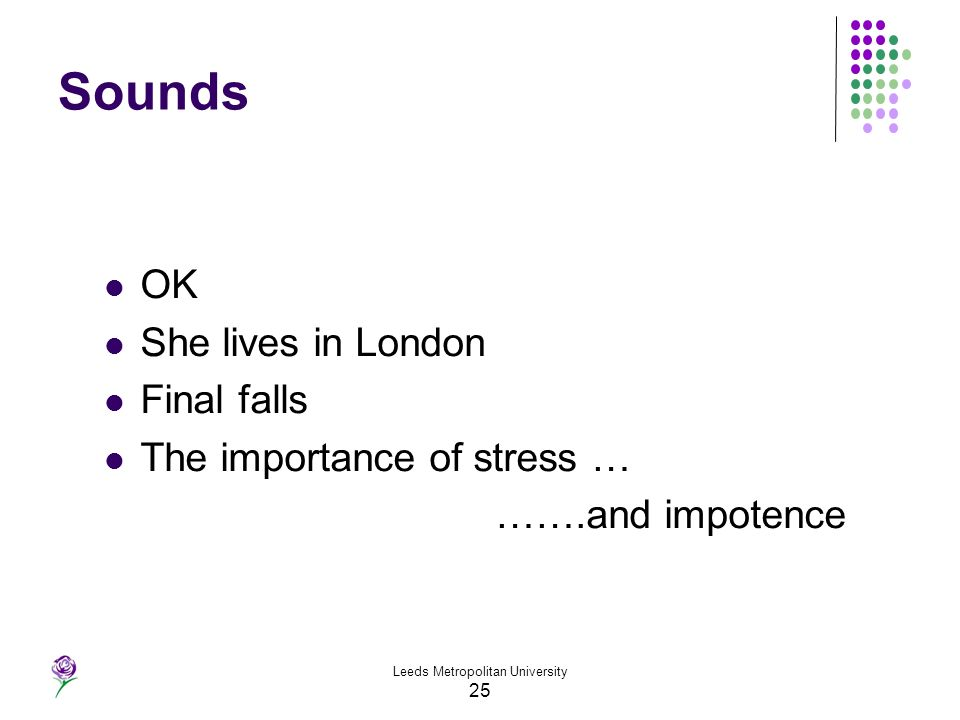 Leeds Metropolitan University 25 Sounds OK She lives in London Final falls The importance of stress … …….and impotence