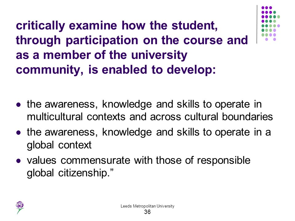 Leeds Metropolitan University 36 critically examine how the student, through participation on the course and as a member of the university community,