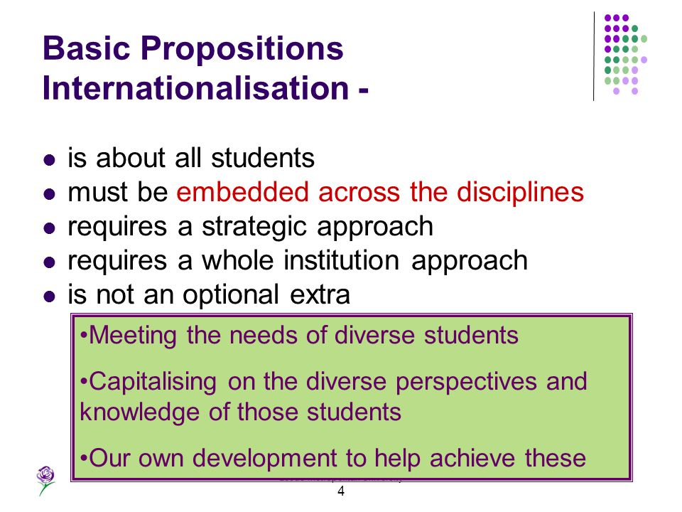 Leeds Metropolitan University 4 Basic Propositions Internationalisation - is about all students must be embedded across the disciplines requires a str