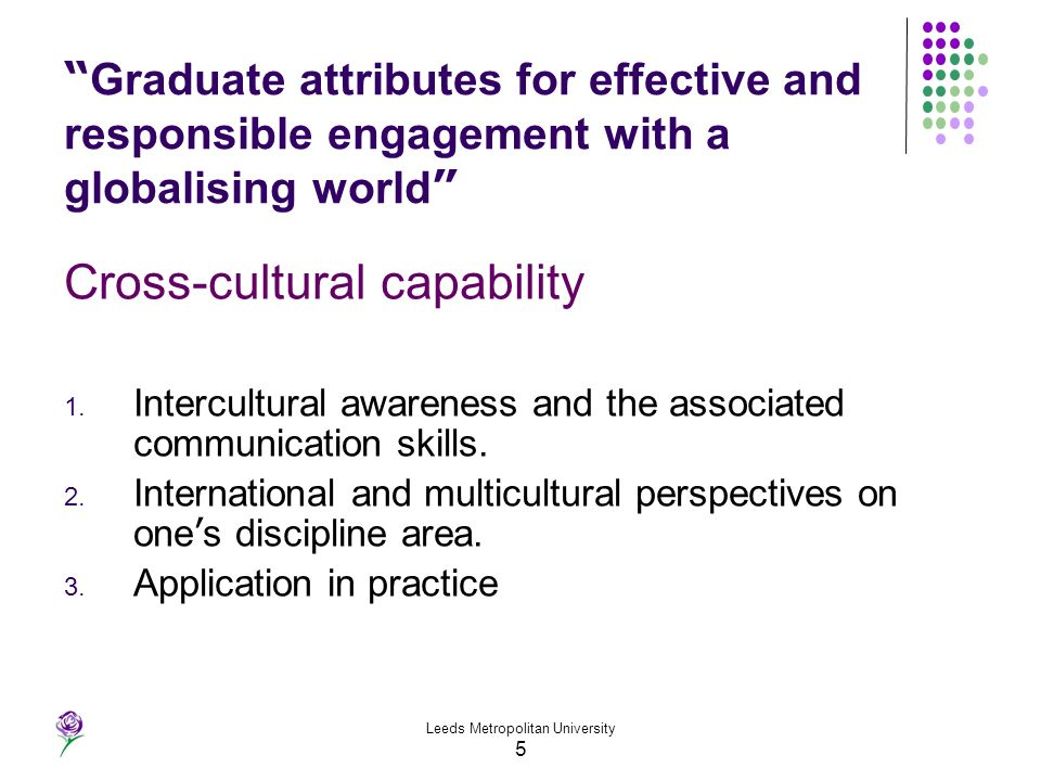 Leeds Metropolitan University 5 Graduate attributes for effective and responsible engagement with a globalising world Cross-cultural capability 1. Int
