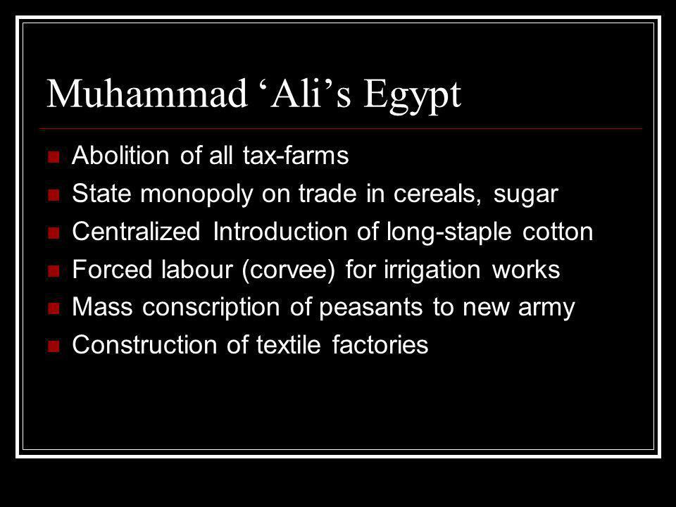 Muhammad Alis Egypt Abolition of all tax-farms State monopoly on trade in cereals, sugar Centralized Introduction of long-staple cotton Forced labour (corvee) for irrigation works Mass conscription of peasants to new army Construction of textile factories
