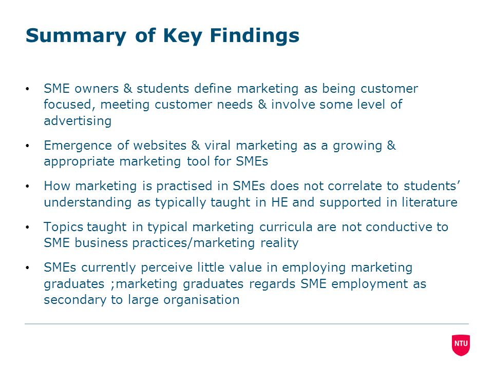 Summary of Key Findings SME owners & students define marketing as being customer focused, meeting customer needs & involve some level of advertising Emergence of websites & viral marketing as a growing & appropriate marketing tool for SMEs How marketing is practised in SMEs does not correlate to students understanding as typically taught in HE and supported in literature Topics taught in typical marketing curricula are not conductive to SME business practices/marketing reality SMEs currently perceive little value in employing marketing graduates ;marketing graduates regards SME employment as secondary to large organisation