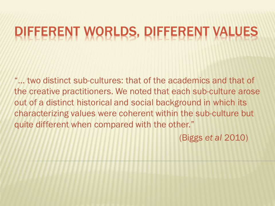 ... two distinct sub-cultures: that of the academics and that of the creative practitioners.