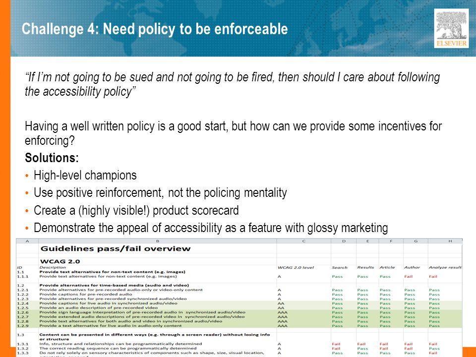Challenge 4: Need policy to be enforceable If Im not going to be sued and not going to be fired, then should I care about following the accessibility policy Having a well written policy is a good start, but how can we provide some incentives for enforcing.