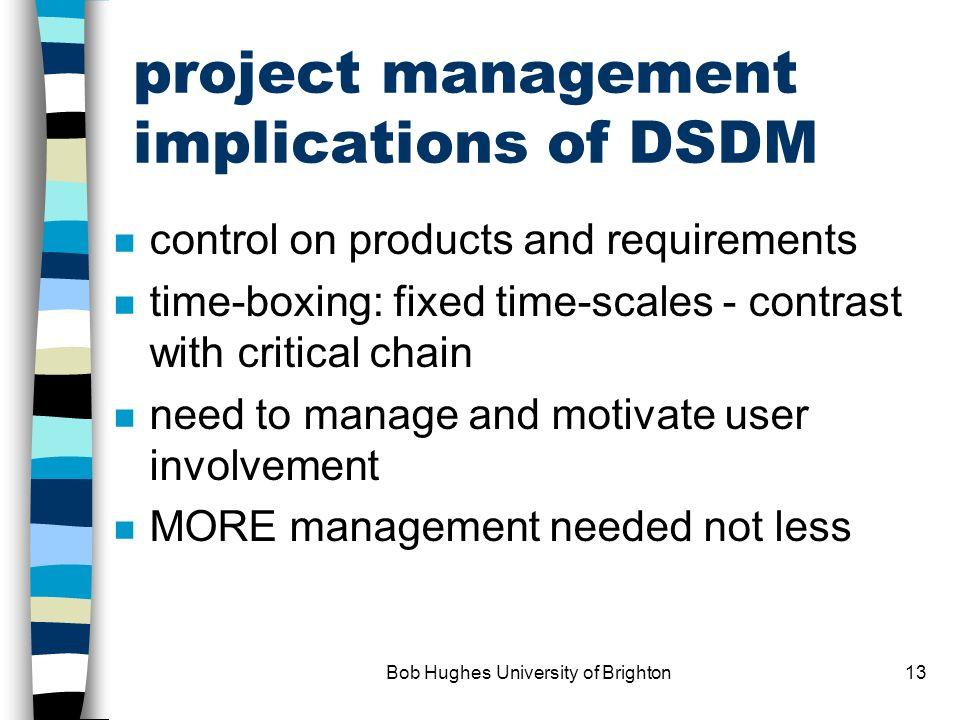 Bob Hughes University of Brighton12 DSDM characteristics - contd.