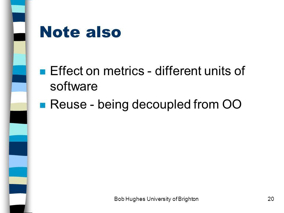 Bob Hughes University of Brighton19 Effect of alternative paradigms RAD/DSDM - iterations - how do we control them.