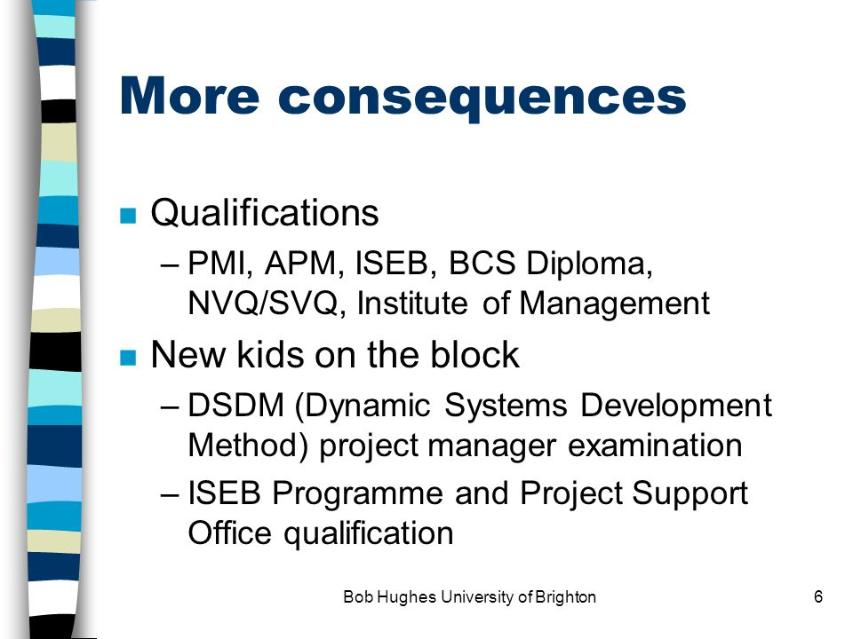 Bob Hughes University of Brighton5 Some consequences n Growth in interest in PM n Professional bodies –Association for Project Management (UK) –Projec