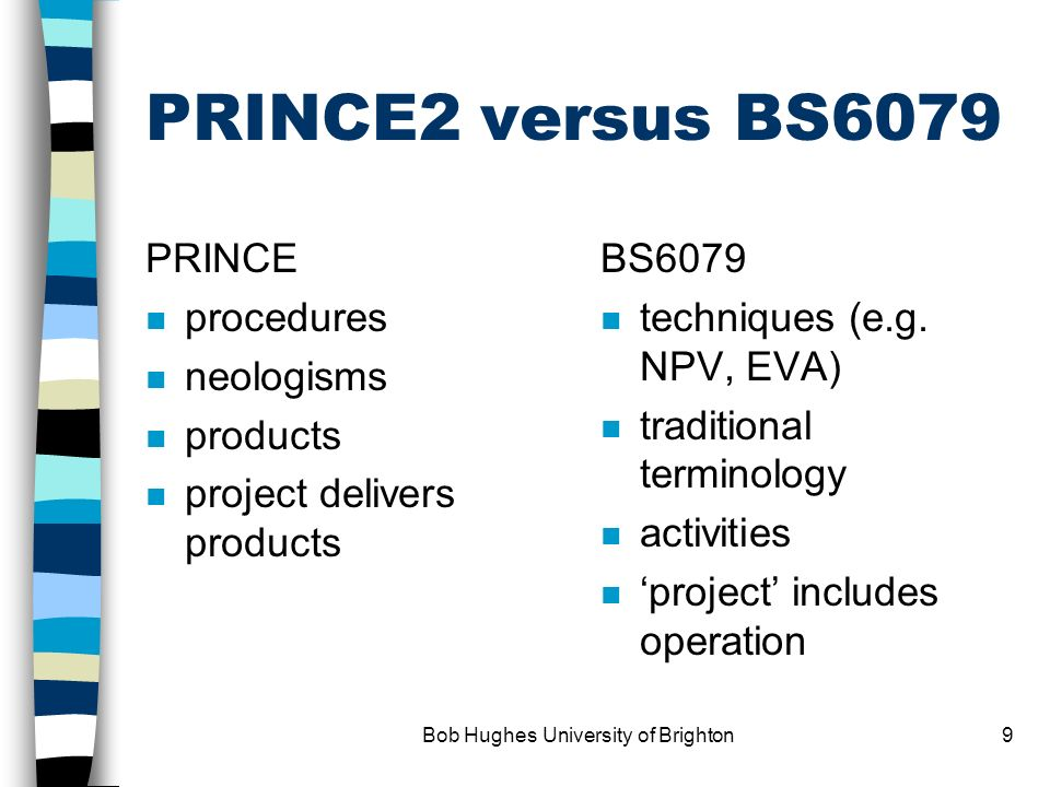 Bob Hughes University of Brighton8 Programme management Programme brief Vision statement Blueprint projects Project portfolio Benefits management succ