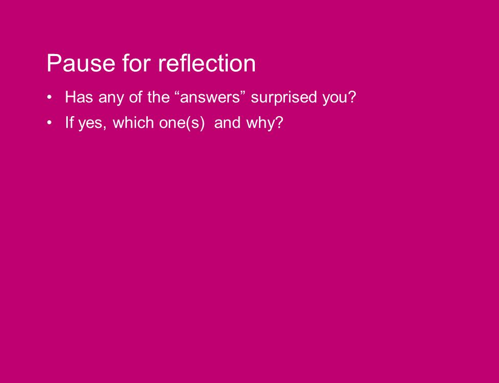 Pause for reflection Has any of the answers surprised you? If yes, which one(s) and why?