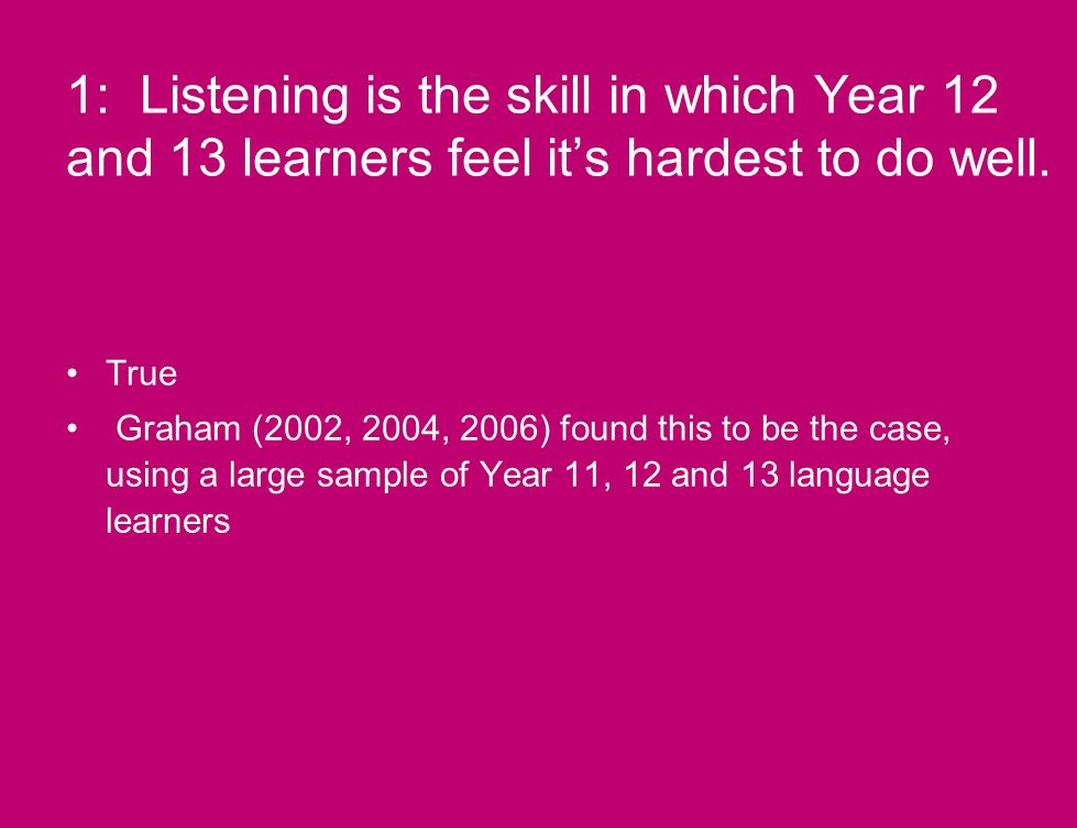 1: Listening is the skill in which Year 12 and 13 learners feel its hardest to do well.