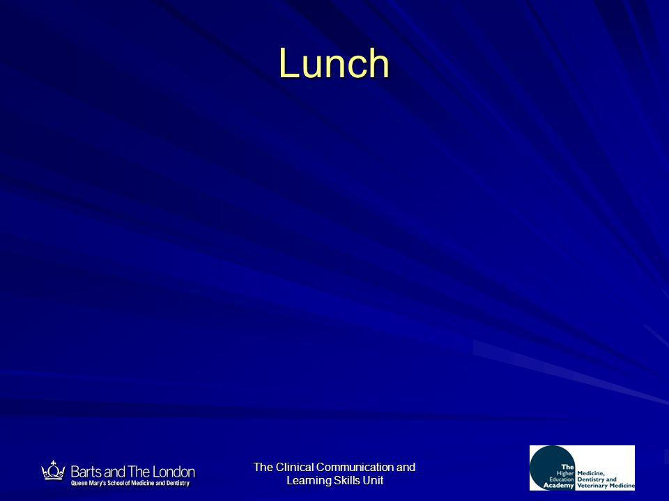 12 The Clinical Communication and Learning Skills Unit Lunch
