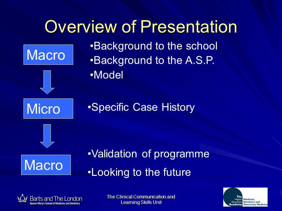 12 The Clinical Communication and Learning Skills Unit Overview of Presentation Macro Micro Macro Background to the school Background to the A.S.P. Mo