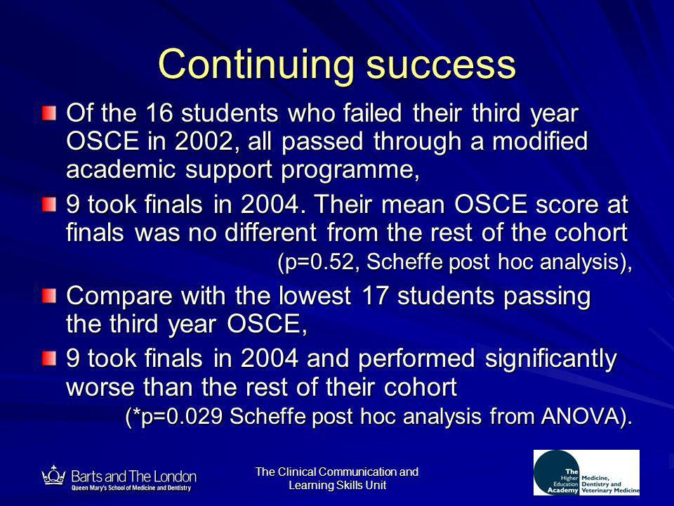 12 The Clinical Communication and Learning Skills Unit Continuing success Of the 16 students who failed their third year OSCE in 2002, all passed thro