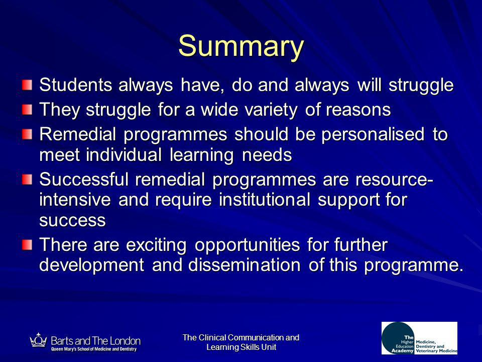 12 The Clinical Communication and Learning Skills Unit Summary Students always have, do and always will struggle They struggle for a wide variety of r