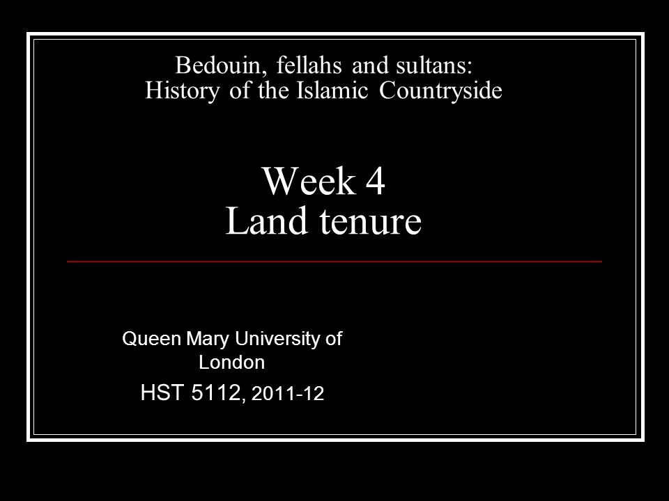 Islamic feudalism, 1000-1500 Continuous shifts from state land-ownership to private ownership and back, unless land endowed for religious purposes Private owners convert land to charitable endowments (waqf) to protect from state confiscation Waqf could benefit religious institutions, the poor, or families of land-owner
