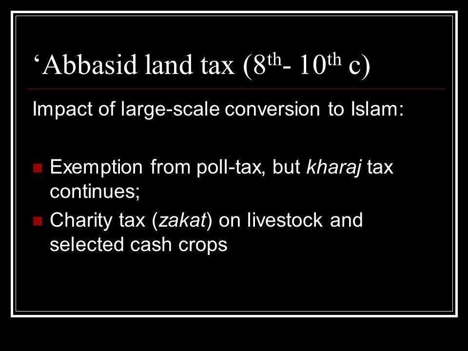 Abbasid land tenure (8 th - 9 th c) Land reclamation projects in Iraq Large estates run by urban landowners Use of slaves in estates around Basra, and in Tunisia (Qayrawan) Zanj Slave revolt around Basra (868-883) Peasants revolts in Egypt (9 th century)