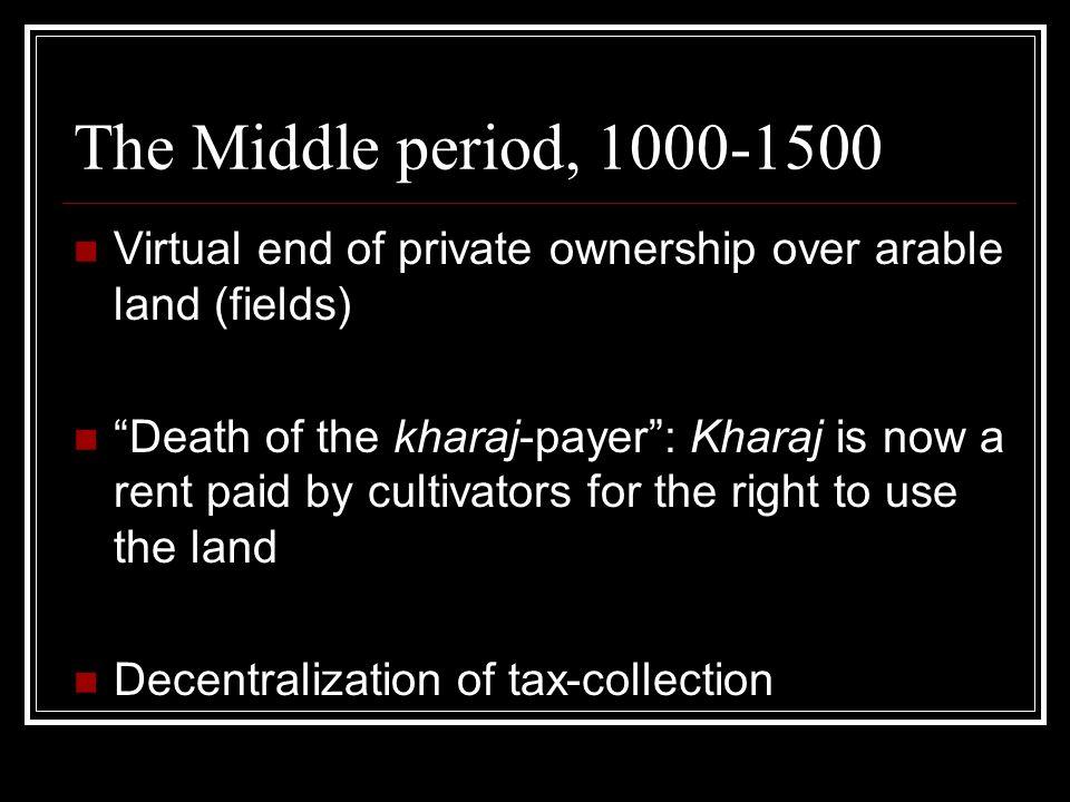 Islamic feudalism, 1000-1500 iqta - a grant of agricultural revenue in return for military service.