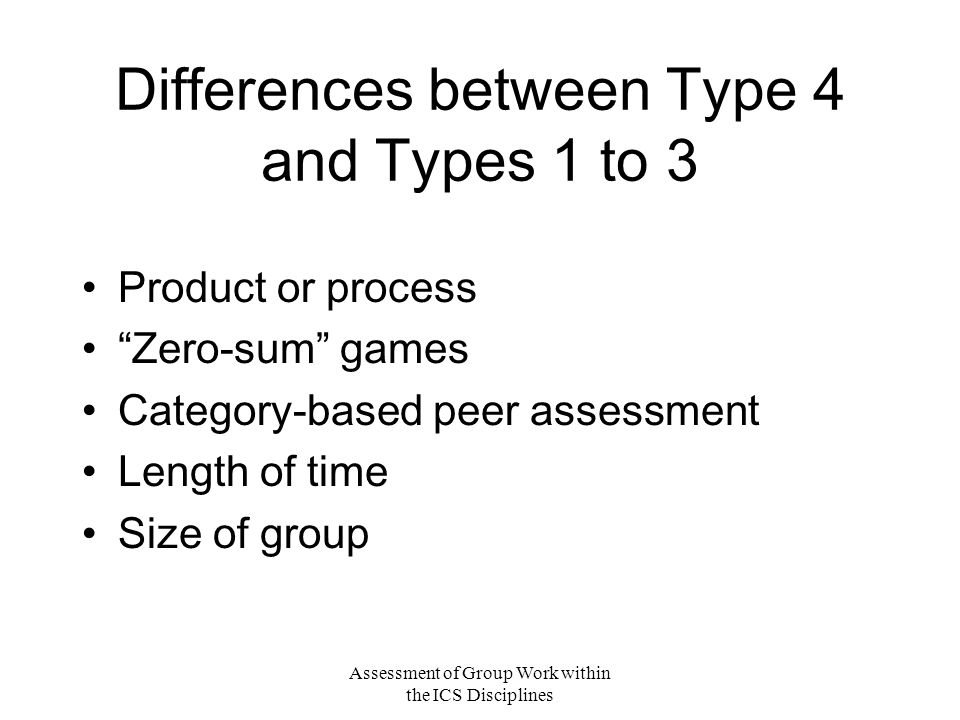 Assessment of Group Work within the ICS Disciplines Differences between Type 4 and Types 1 to 3 Product or process Zero-sum games Category-based peer assessment Length of time Size of group