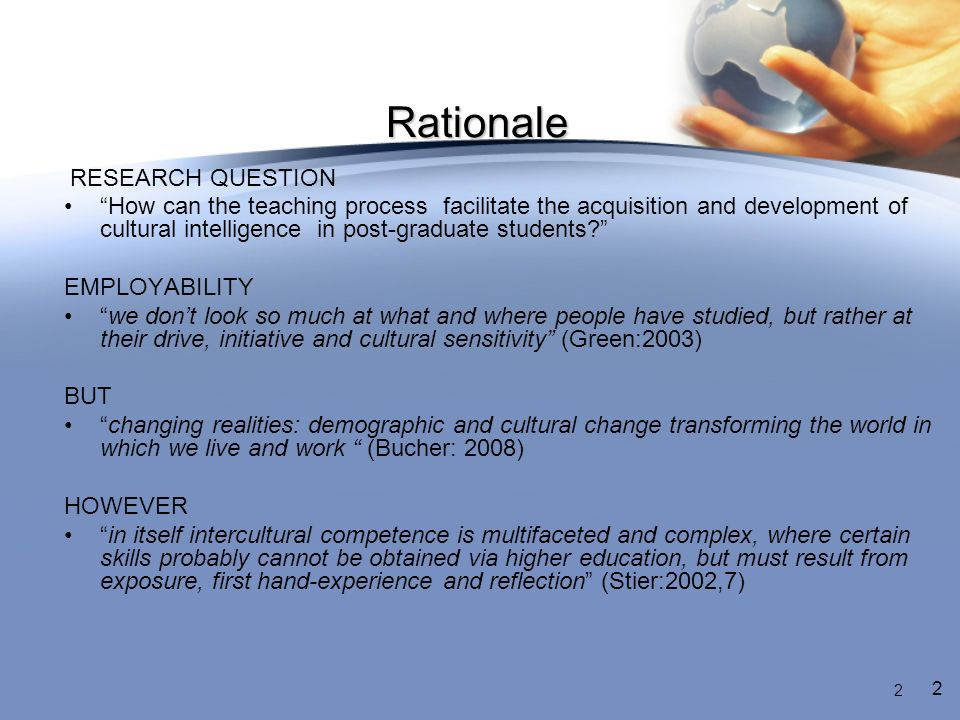Rationale RESEARCH QUESTION How can the teaching process facilitate the acquisition and development of cultural intelligence in post-graduate students