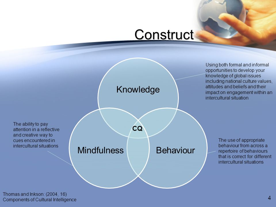 Construct Knowledge BehaviourMindfulness Using both formal and informal opportunities to develop your knowledge of global issues including national cu