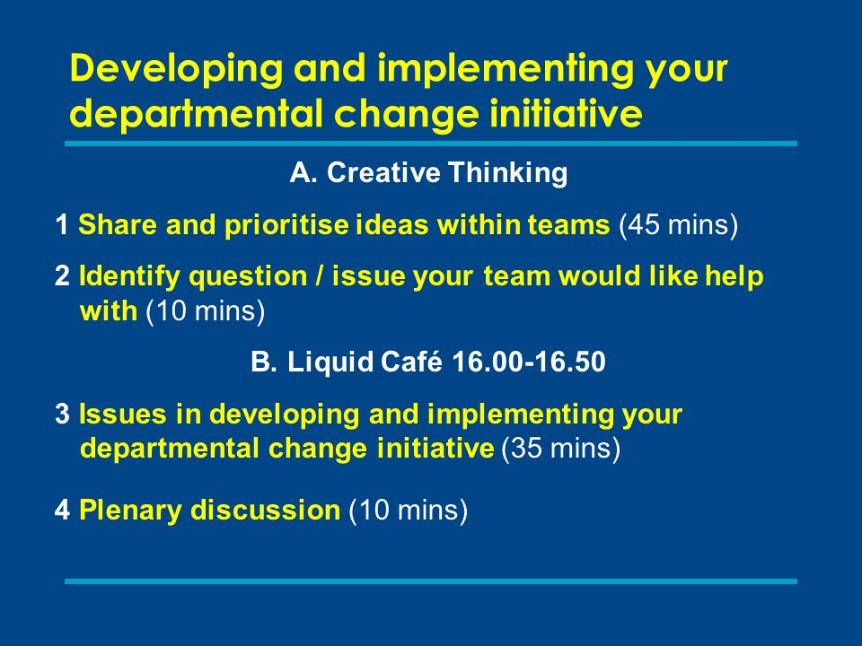 Developing and implementing your departmental change initiative A.