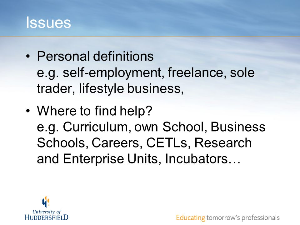Issues Personal definitions e.g. self-employment, freelance, sole trader, lifestyle business, Where to find help? e.g. Curriculum, own School, Busines