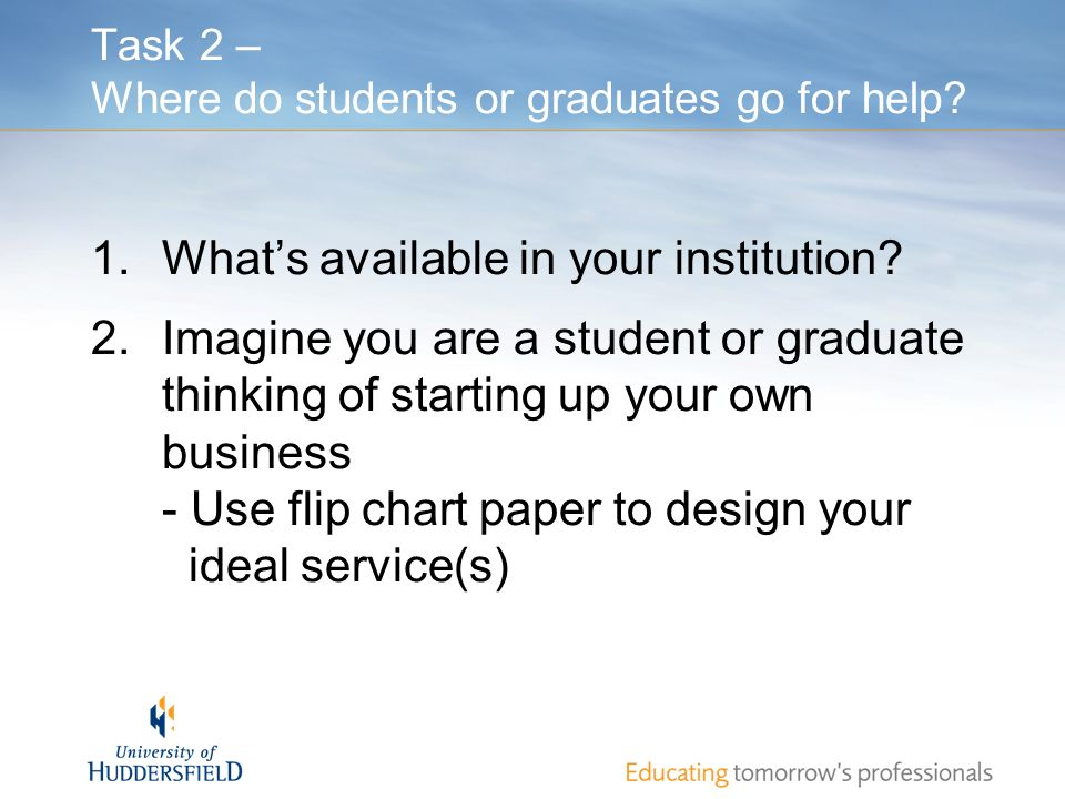 Task 2 – Where do students or graduates go for help? 1.Whats available in your institution? 2.Imagine you are a student or graduate thinking of starti