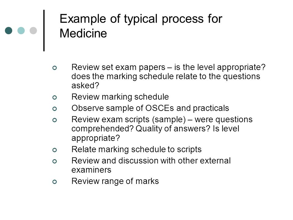 Example of typical process for Medicine Review set exam papers – is the level appropriate? does the marking schedule relate to the questions asked? Re