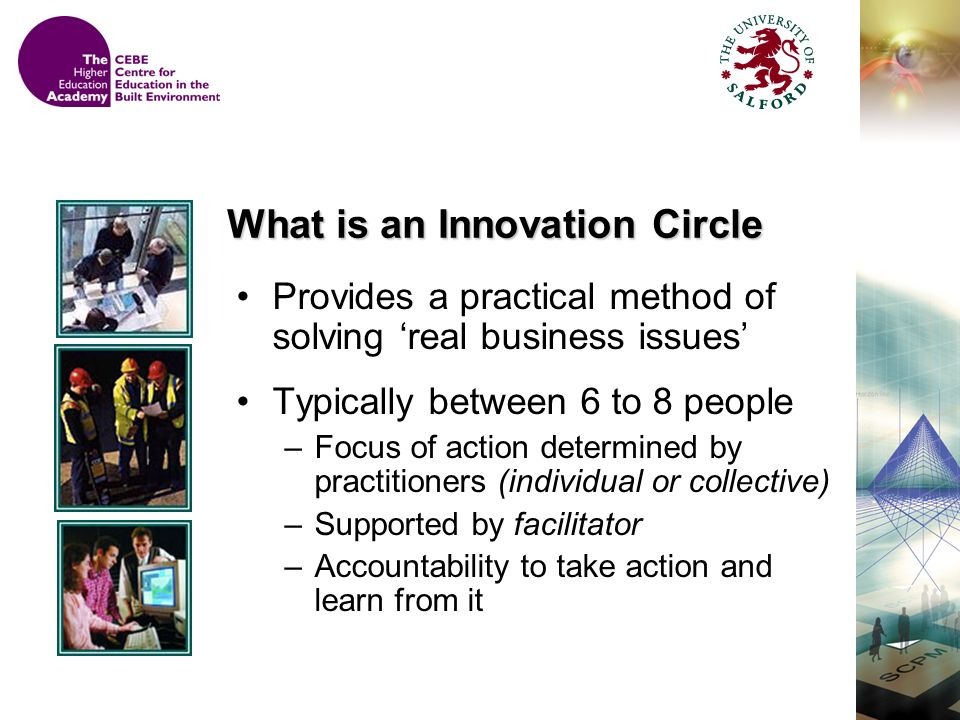 Provides a practical method of solving real business issues Typically between 6 to 8 people –Focus of action determined by practitioners (individual or collective) –Supported by facilitator –Accountability to take action and learn from it What is an Innovation Circle