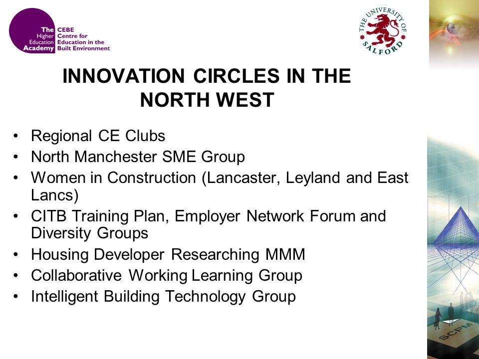 INNOVATION CIRCLES IN THE NORTH WEST Regional CE Clubs North Manchester SME Group Women in Construction (Lancaster, Leyland and East Lancs) CITB Training Plan, Employer Network Forum and Diversity Groups Housing Developer Researching MMM Collaborative Working Learning Group Intelligent Building Technology Group