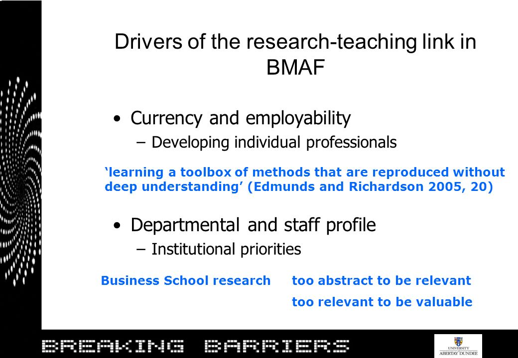 Drivers of the research-teaching link in BMAF Currency and employability –Developing individual professionals Departmental and staff profile –Institut
