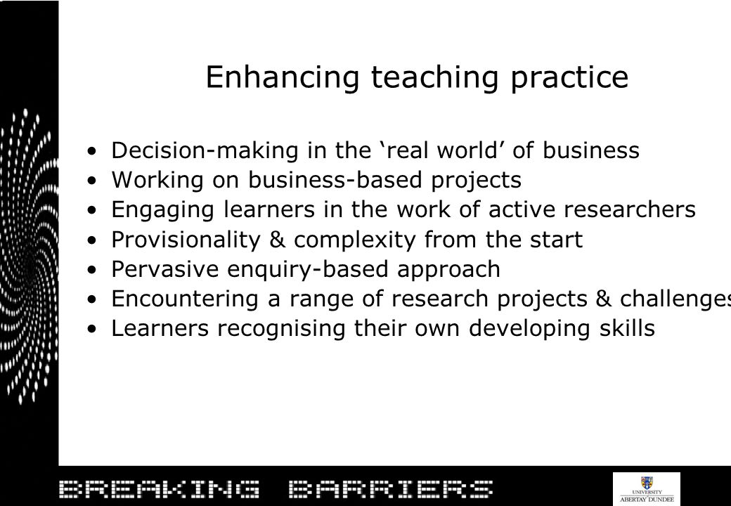 Enhancing teaching practice Decision-making in the real world of business Working on business-based projects Engaging learners in the work of active r