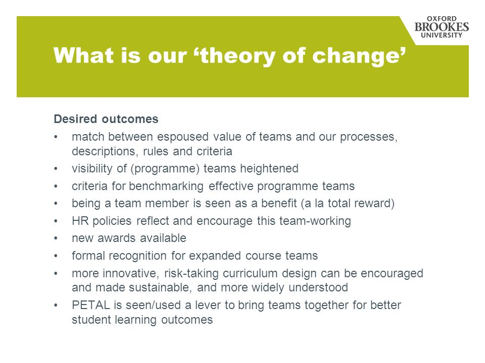 What is our theory of change Desired outcomes match between espoused value of teams and our processes, descriptions, rules and criteria visibility of (programme) teams heightened criteria for benchmarking effective programme teams being a team member is seen as a benefit (a la total reward) HR policies reflect and encourage this team-working new awards available formal recognition for expanded course teams more innovative, risk-taking curriculum design can be encouraged and made sustainable, and more widely understood PETAL is seen/used a lever to bring teams together for better student learning outcomes