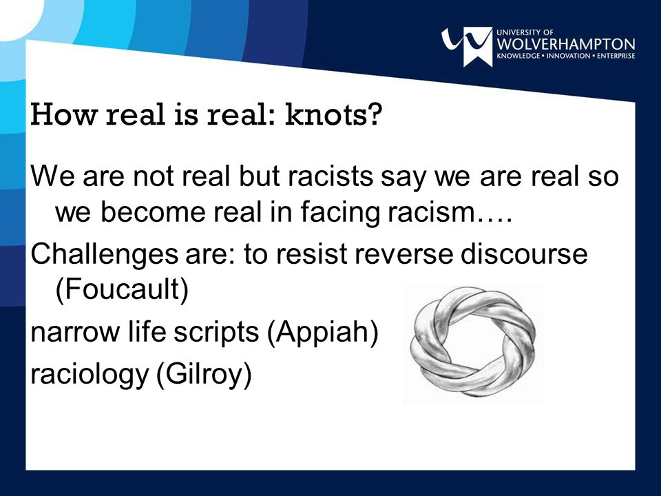 How real is real: knots? We are not real but racists say we are real so we become real in facing racism…. Challenges are: to resist reverse discourse