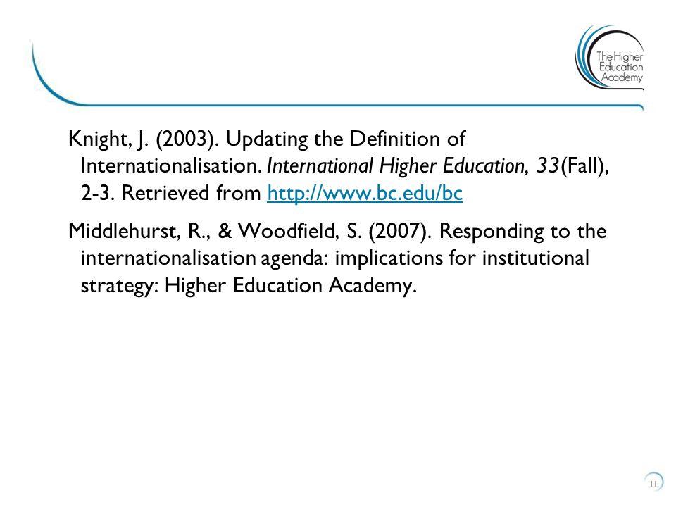 Knight, J. (2003). Updating the Definition of Internationalisation. International Higher Education, 33(Fall), 2-3. Retrieved from http://www.bc.edu/bc