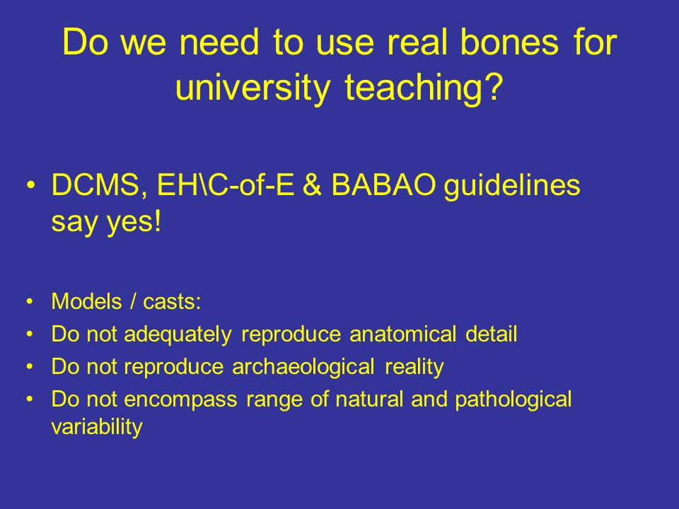 Do we need to use real bones for university teaching.