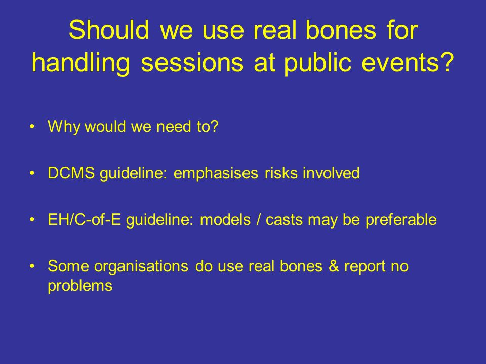 Should we use real bones for handling sessions at public events.