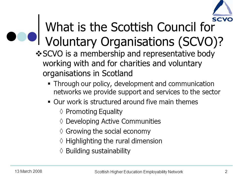 2 13 March 2008 Scottish Higher Education Employability Network What is the Scottish Council for Voluntary Organisations (SCVO).