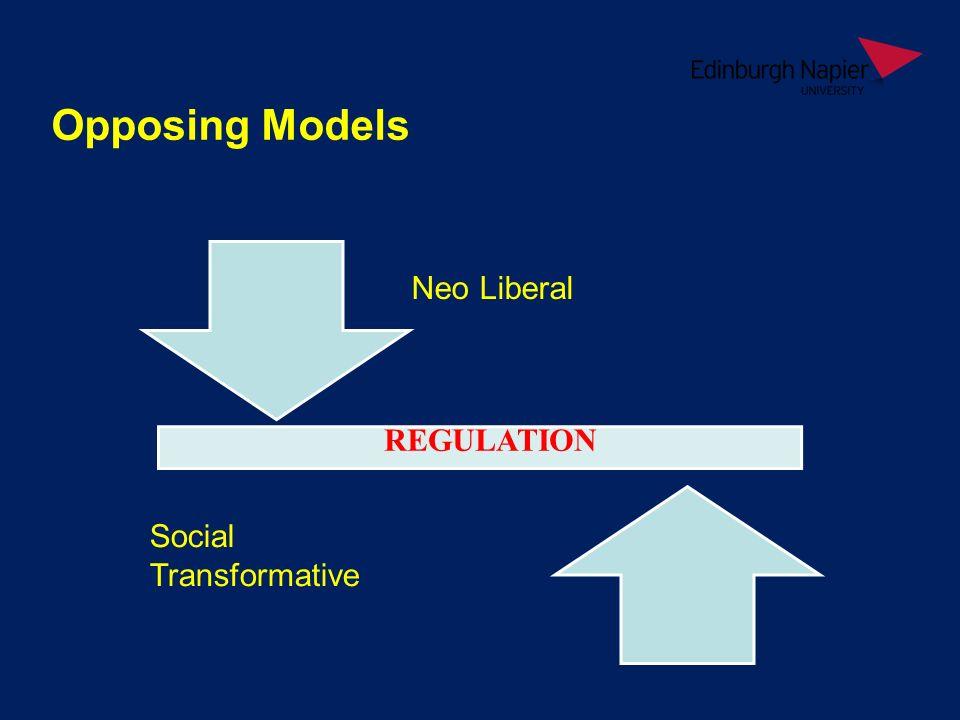Opposing Models Neo Liberal Social Transformative REGULATION