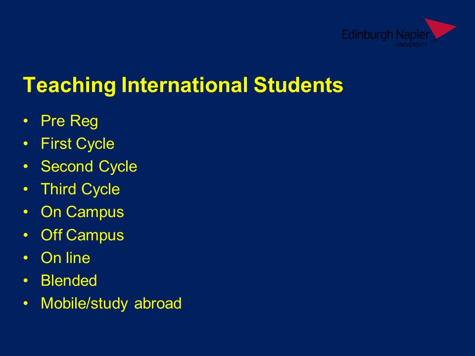 Teaching International Students Pre Reg First Cycle Second Cycle Third Cycle On Campus Off Campus On line Blended Mobile/study abroad