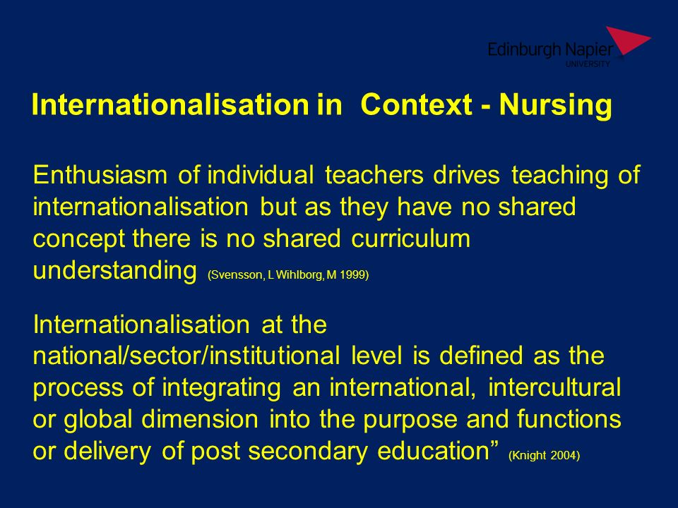 Internationalisation in Context - Nursing Enthusiasm of individual teachers drives teaching of internationalisation but as they have no shared concept there is no shared curriculum understanding (Svensson, L Wihlborg, M 1999) Internationalisation at the national/sector/institutional level is defined as the process of integrating an international, intercultural or global dimension into the purpose and functions or delivery of post secondary education (Knight 2004)
