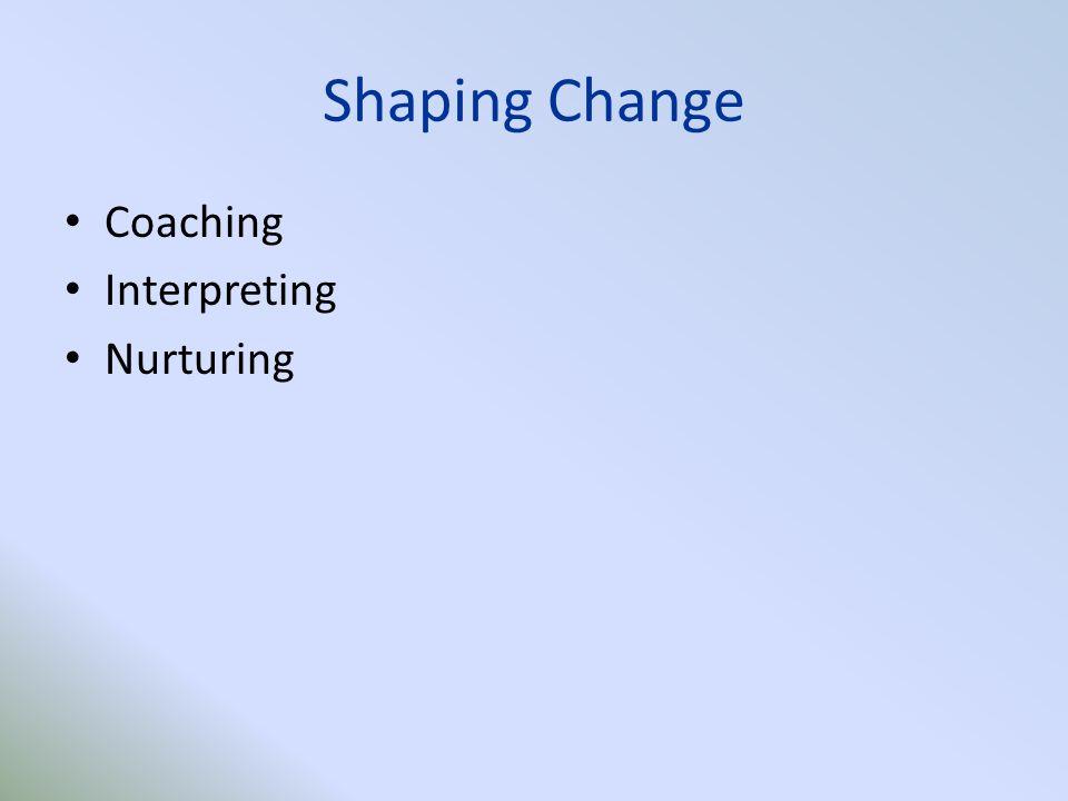 Shaping Change Coaching Interpreting Nurturing