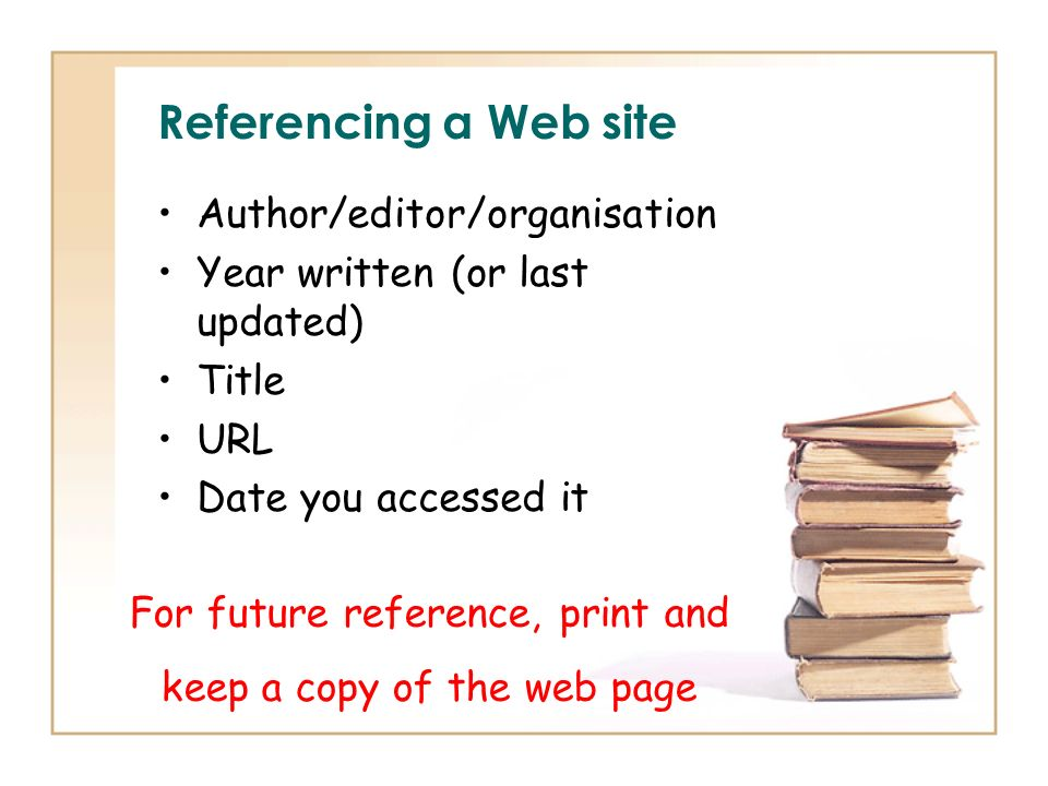 Referencing a Web site Author/editor/organisation Year written (or last updated) Title URL Date you accessed it For future reference, print and keep a