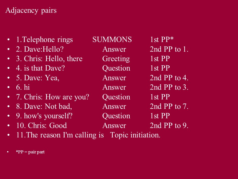 Adjacency pairs 1.Telephone rings SUMMONS1st PP* 2.