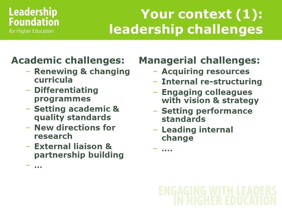 Your context (1): leadership challenges Academic challenges: –Renewing & changing curricula –Differentiating programmes –Setting academic & quality standards –New directions for research –External liaison & partnership building –… Managerial challenges: –Acquiring resources –Internal re-structuring –Engaging colleagues with vision & strategy –Setting performance standards –Leading internal change –….