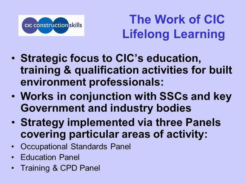 The Work of CIC Lifelong Learning Strategic focus to CICs education, training & qualification activities for built environment professionals: Works in